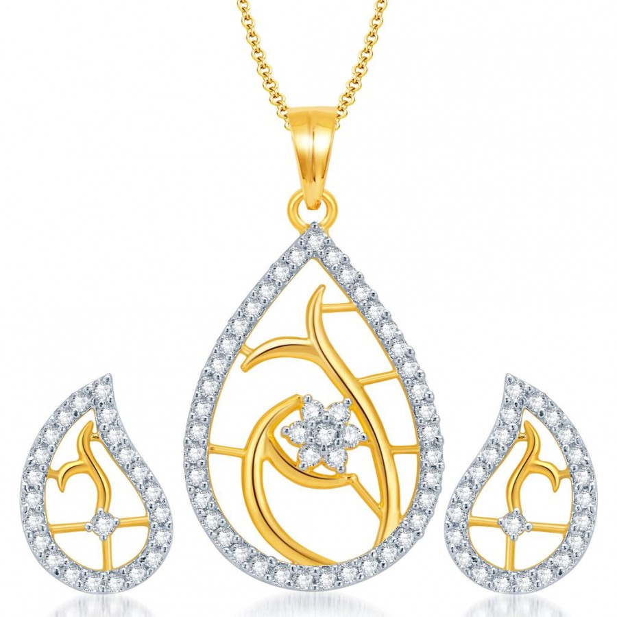 Buy Pissara Classy Gold and Rhodium Plated CZ Pendant Set for Women Online