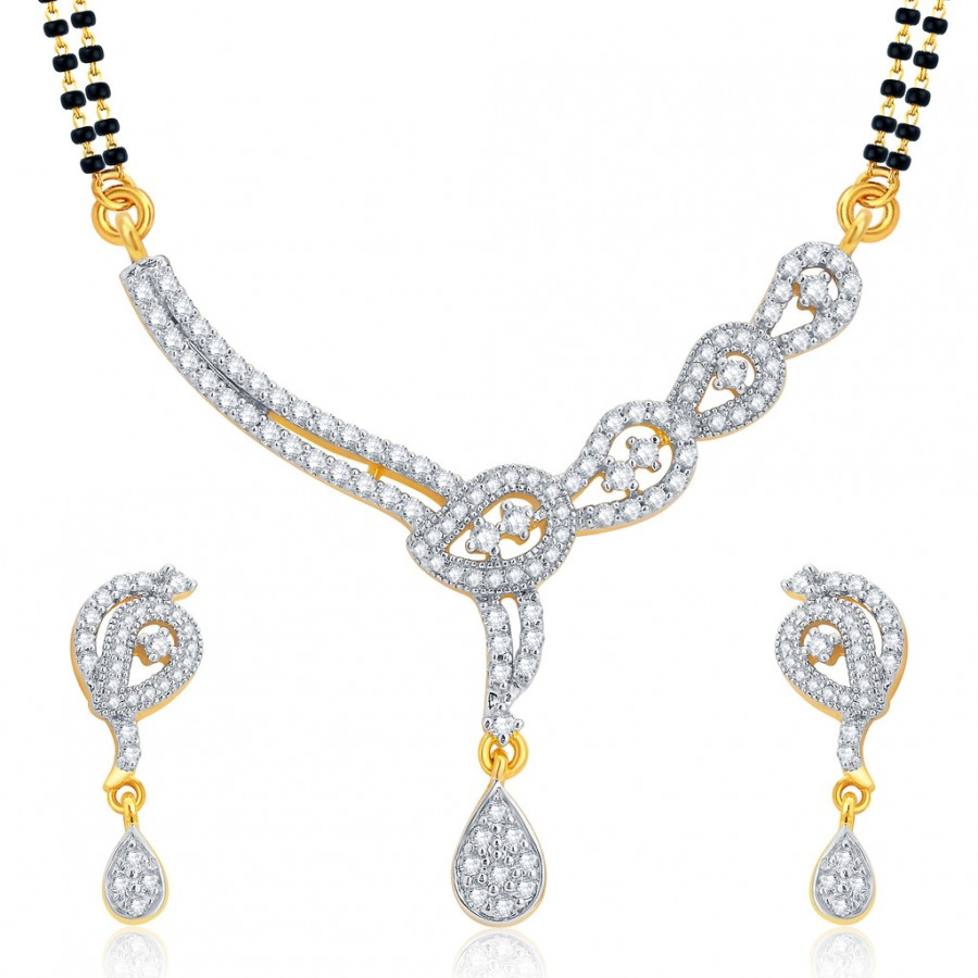 Buy Pissara Bewitching Gold and Rhodium Plated CZ Mangalsutra Set For Women Online