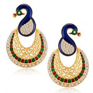 Buy Sukkhi Glamorous Peacock Gold Plated Australian Diamond Earrings Online