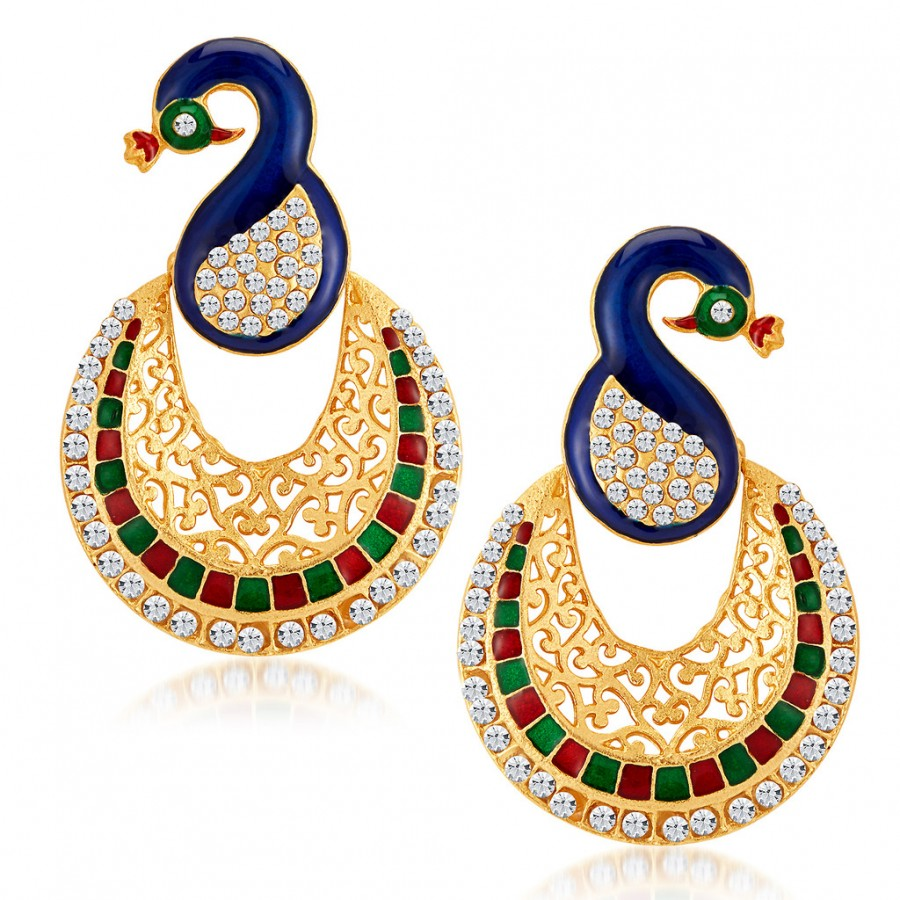 Sukkhi Glamorous Pea Gold Plated Australian Diamond Earrings Online