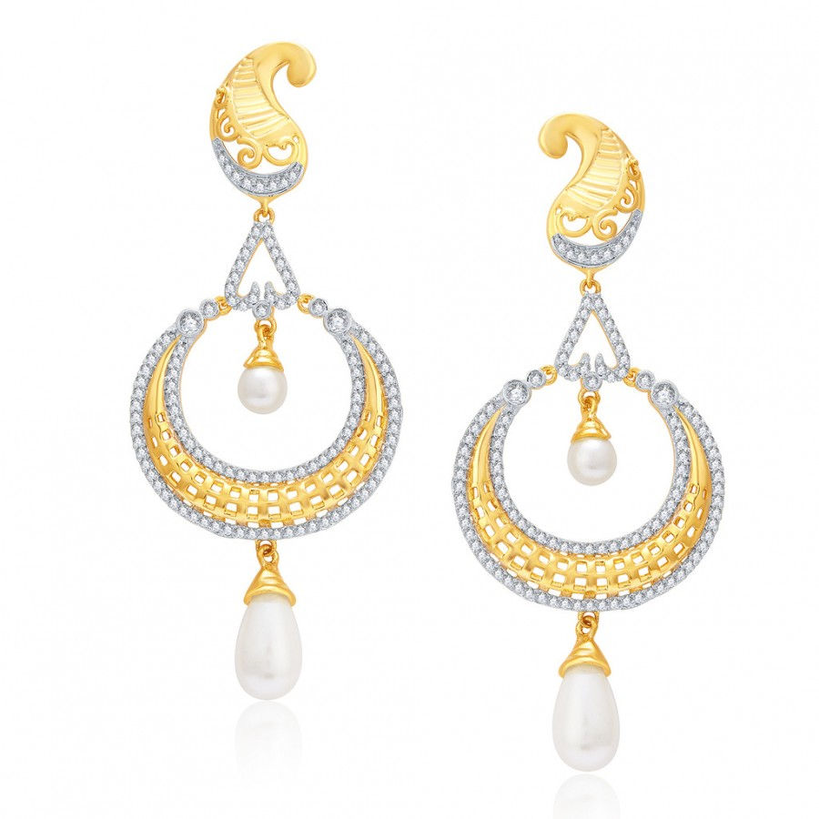 Buy Pissara Pleasing Gold And Rhodium Plated CZ Earrings For Women Online