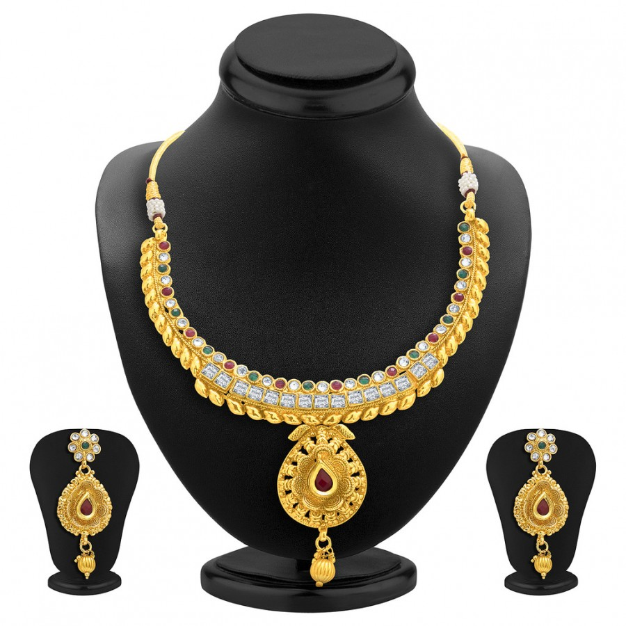 Buy Sukkhi Ethnic Gold Plated AD Necklace Set For Women Online