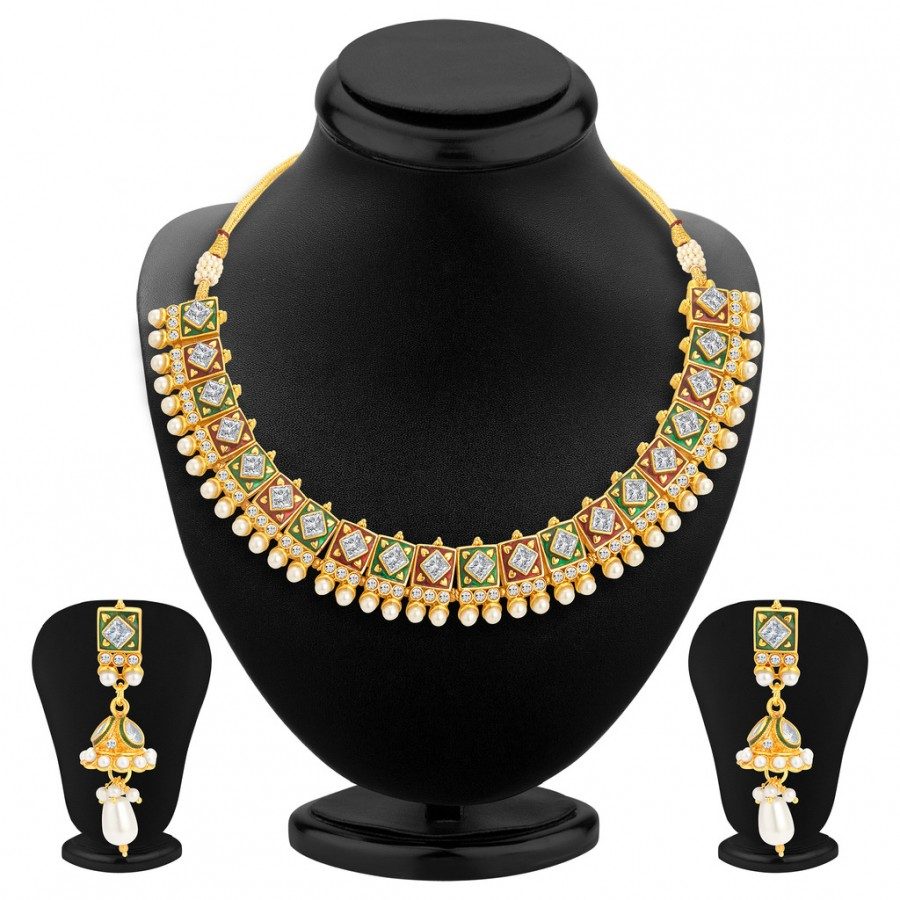 Buy Sukkhi Bewitching Gold Plated Kundan Necklace Set For Women Online