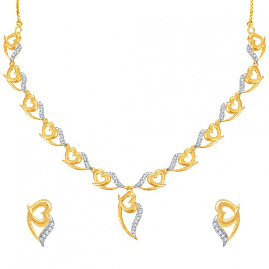 Buy Pissara Stylish Gold and Rhodium Plated CZ Necklace Set Online
