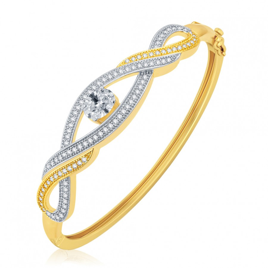 Buy Pissara Graceful Gold And Rhodium Plated CZ Kada For Women Online
