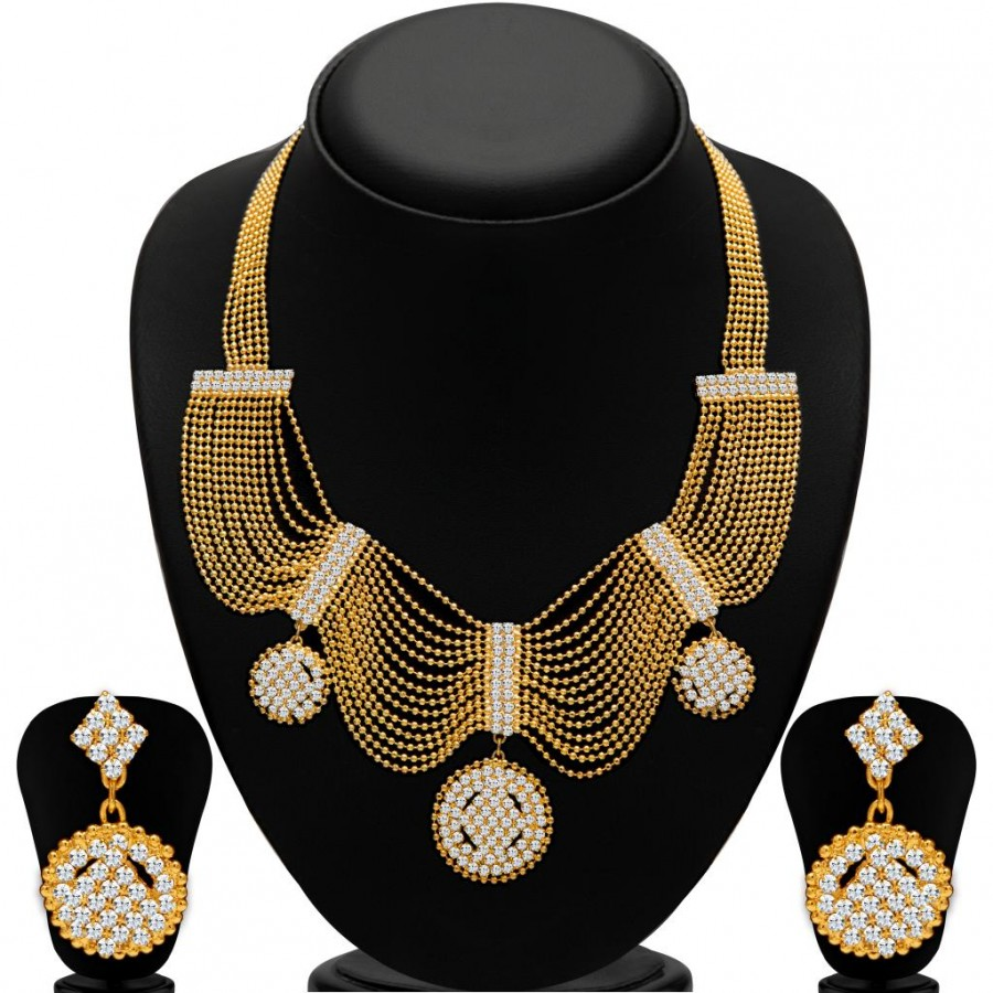 Buy Sukkhi Splendid Gold Plated Ball Chain AD Necklace Set for Women Online