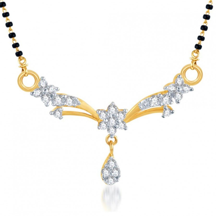 Buy Pissara Classic Traditional CZ Gold and Rhodium Plated Mangalsutra Pendant Online