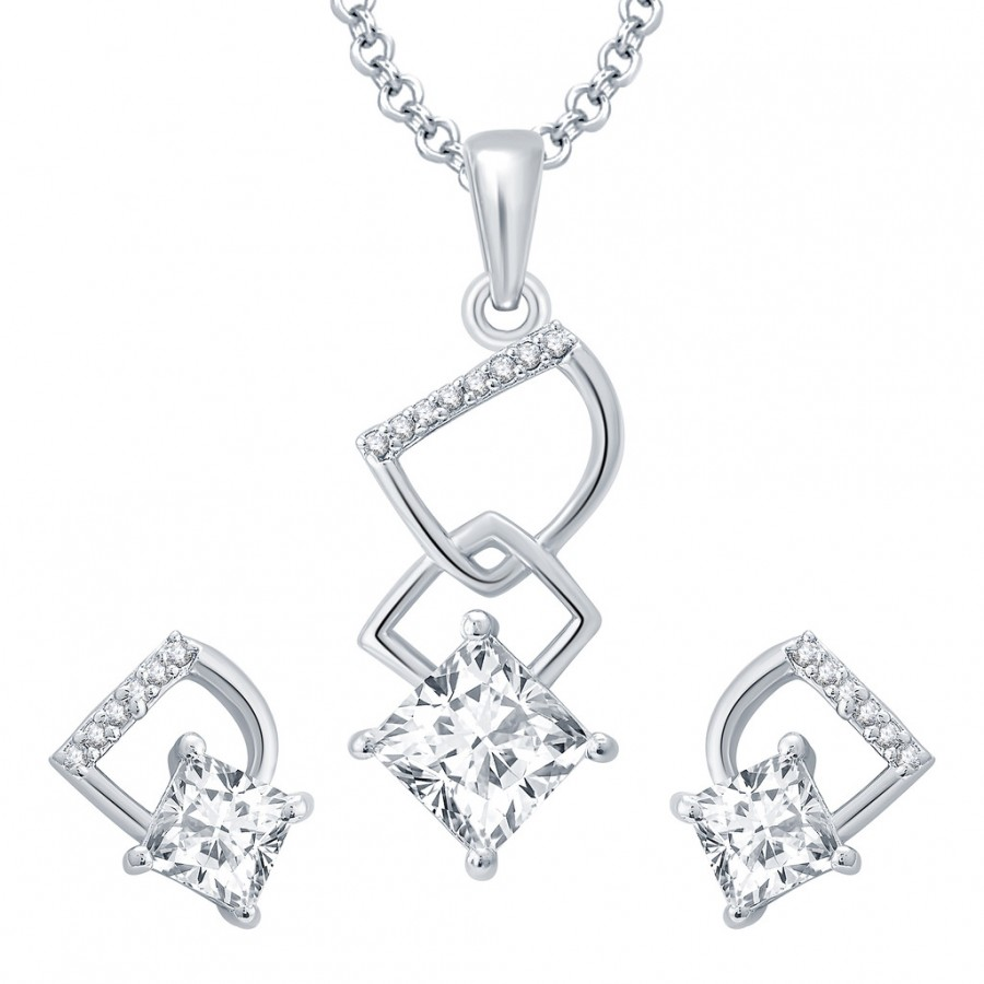 Buy Pissara Flirty Rhodium Plated CZ Pendant Set For Women Online