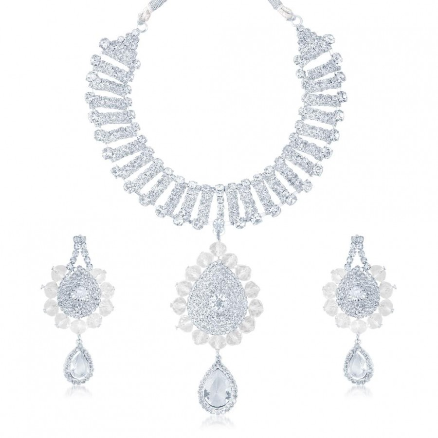 Buy Sukkhi Marvellous Rhodium Plated Australian Diamond Stone Studded Necklace Set Online