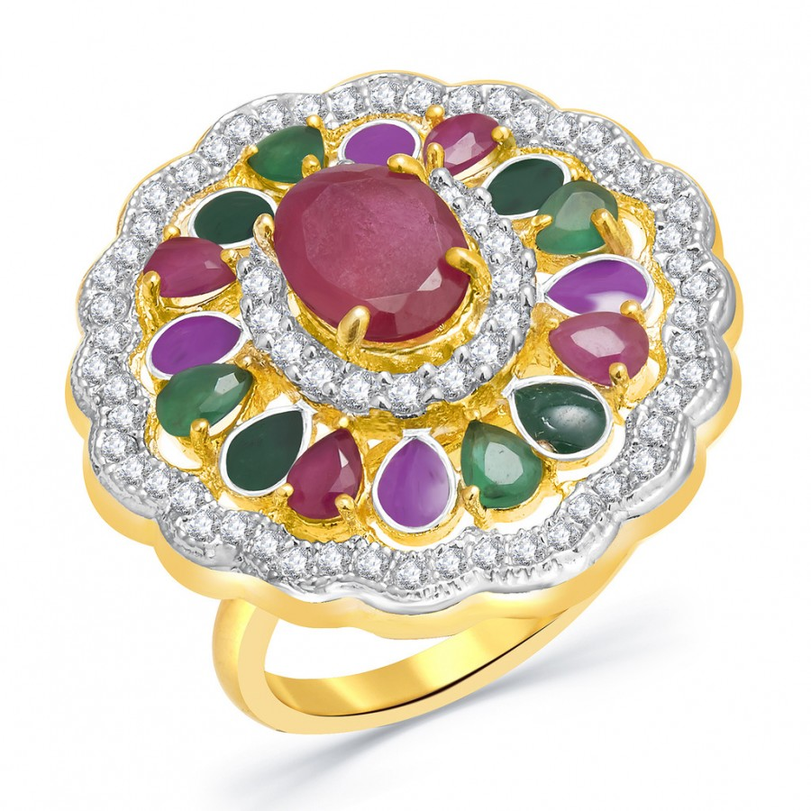 Buy Pissara Luminicent Gold And Rhodium Plated Ruby CZ Ring For Women Online