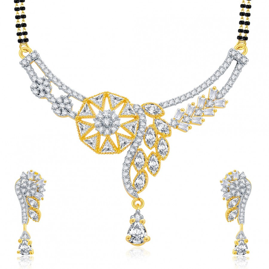 Buy Pissara Burnished Gold And Rhodium Plated CZ Mangalasutra Set For Women Online