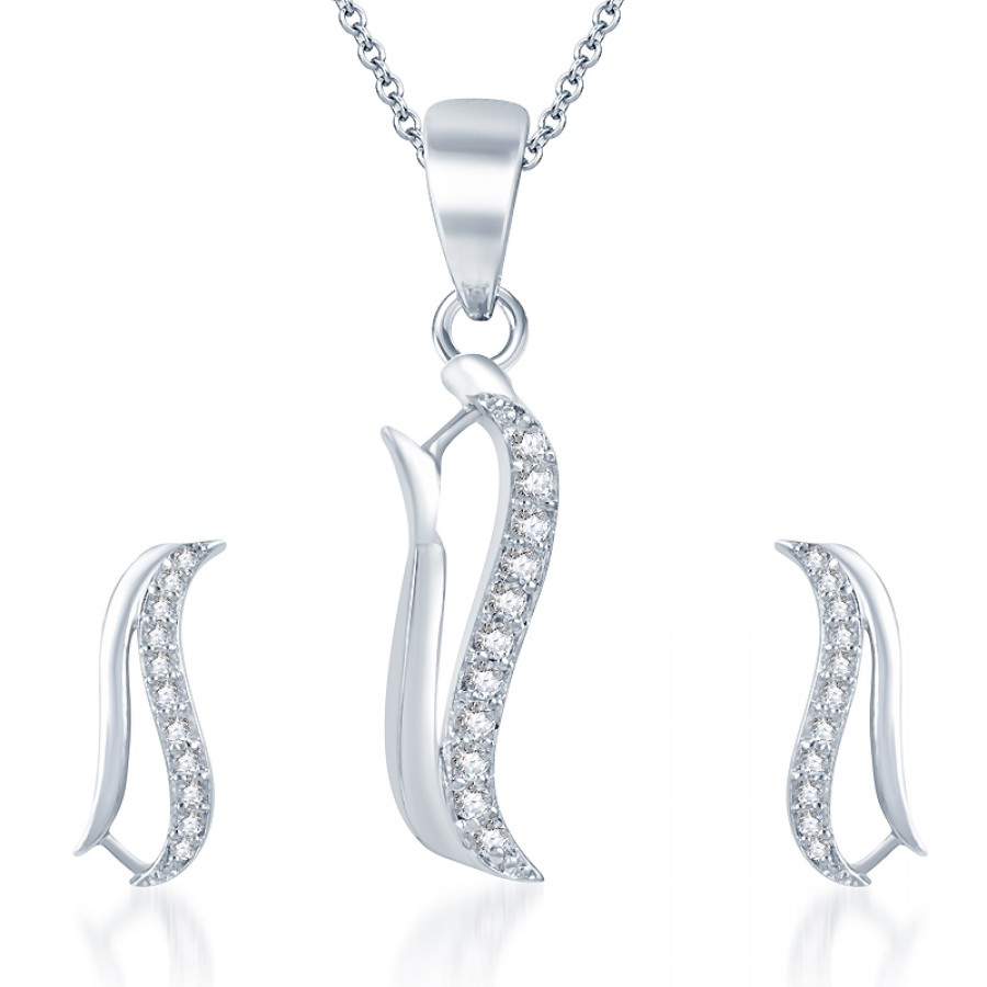 Buy Pissara Eye-Catchy Rodium plated CZ Studded Pendant Set Online
