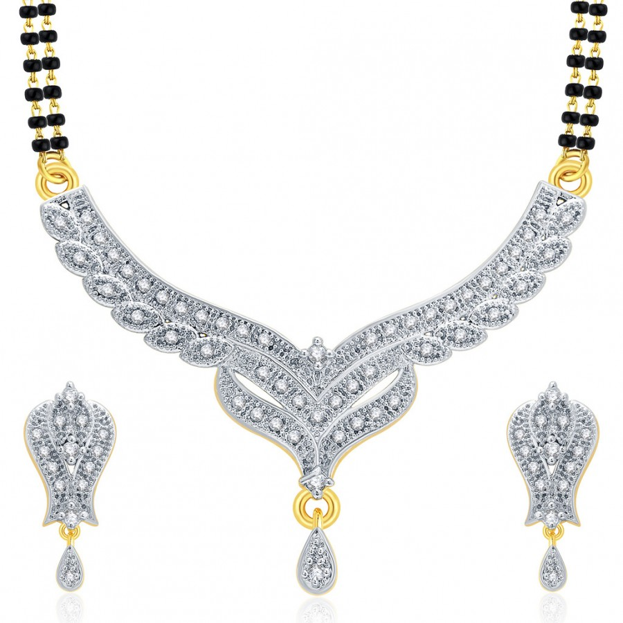 Buy Pissara Thrilling Gold And Rhodium Plated CZ Mangalasutra Set For Women Online