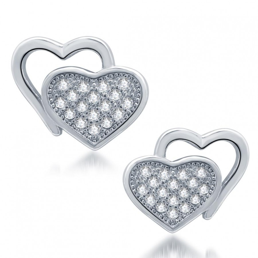 Buy Pissara Eye-Catchy Rhodium Plated Micro Pave CZ Earrings Online