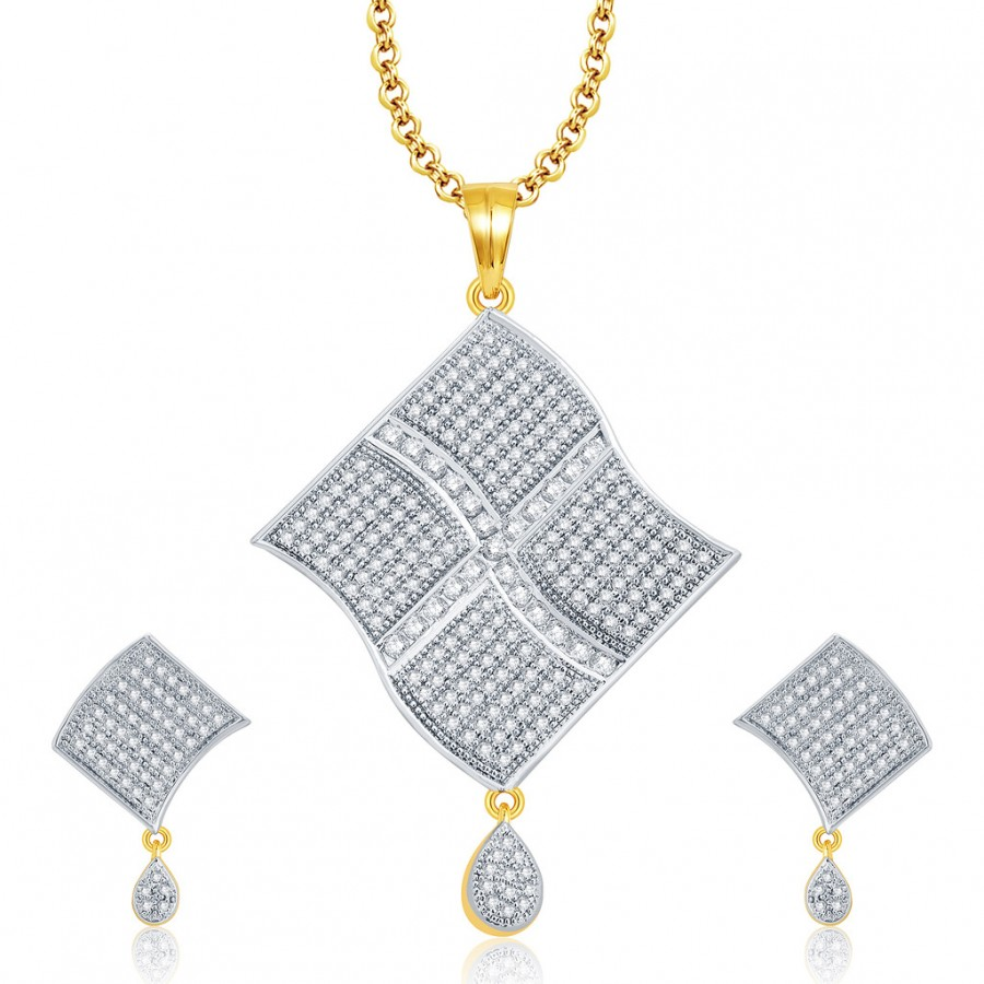 Buy Pissara Cheerful Gold And Rhodium Plated CZ Pendant Set For Women Online