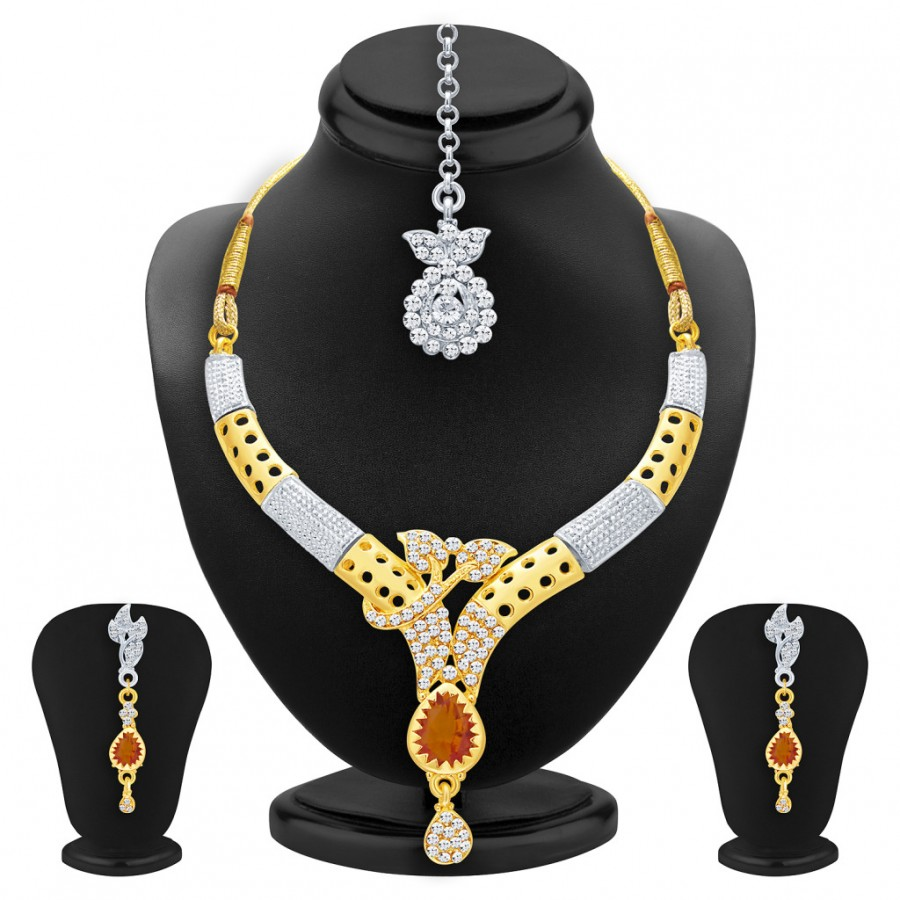Buy Sukkhi Sublime Gold & Rhodium Plated AD Necklace Set with Set of 5 Changeable Stone For Women Online