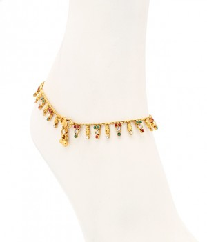 Buy Sukkhi Intricately Gold Plated Australian Diamond Stone Studded Anklet Online