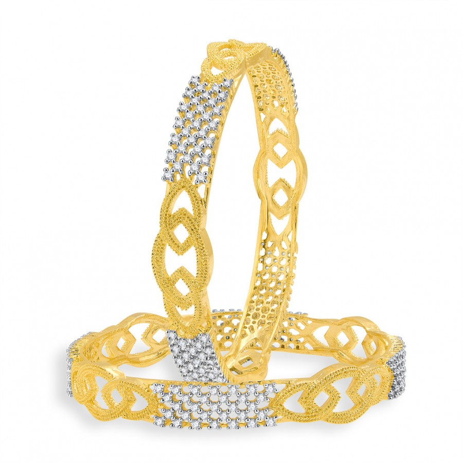 Buy Pissara Beguiling Gold And Rhodium Plated CZ Bangles For Women Online