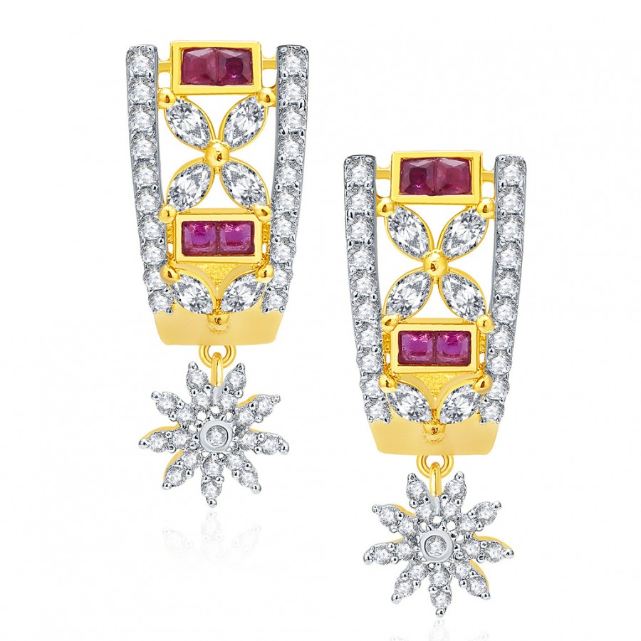 Buy Pissara Wondrous Gold And Rhodium Plated Ruby CZ Earrings For Women Online