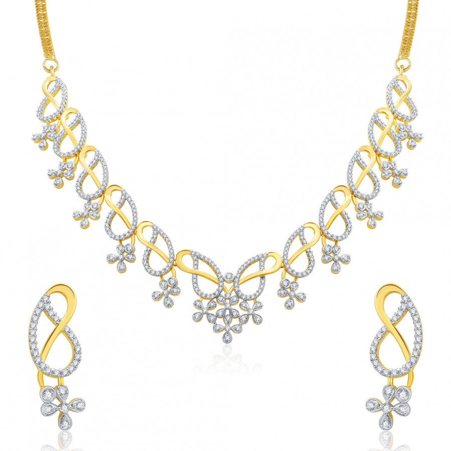 Buy Pissara Interesting Gold And Rhodium Plated CZ Neklace Set For Women Online