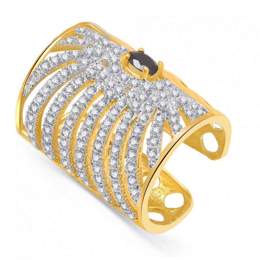 Buy Pissara Lavish Gold And Rhodium Plated CZ Ring For Women Online