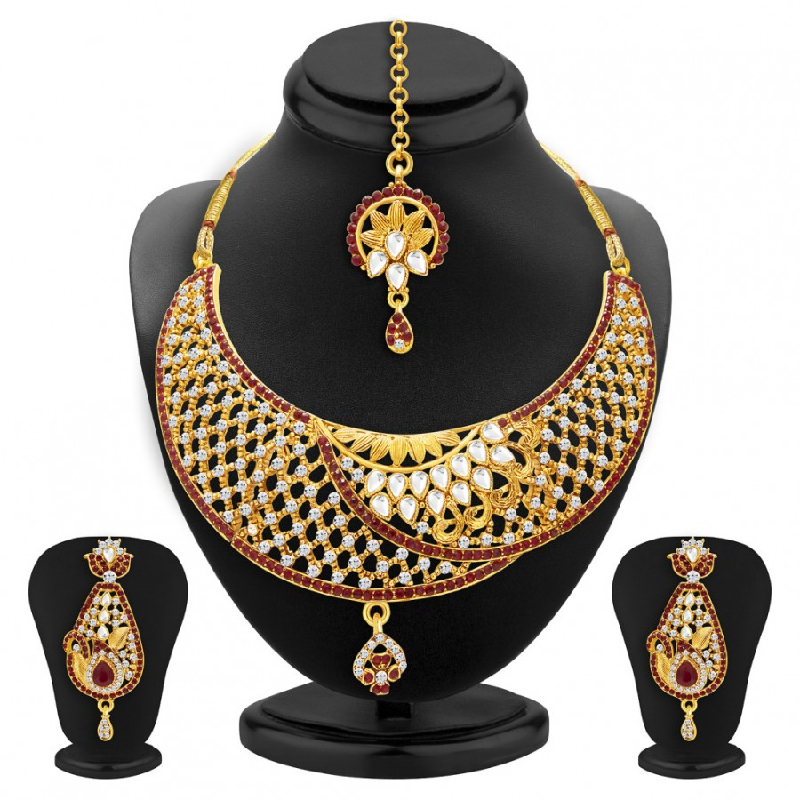 Buy Sukkhi Glamorous Gold Plated AD and Kundan Necklace Set For Women Online