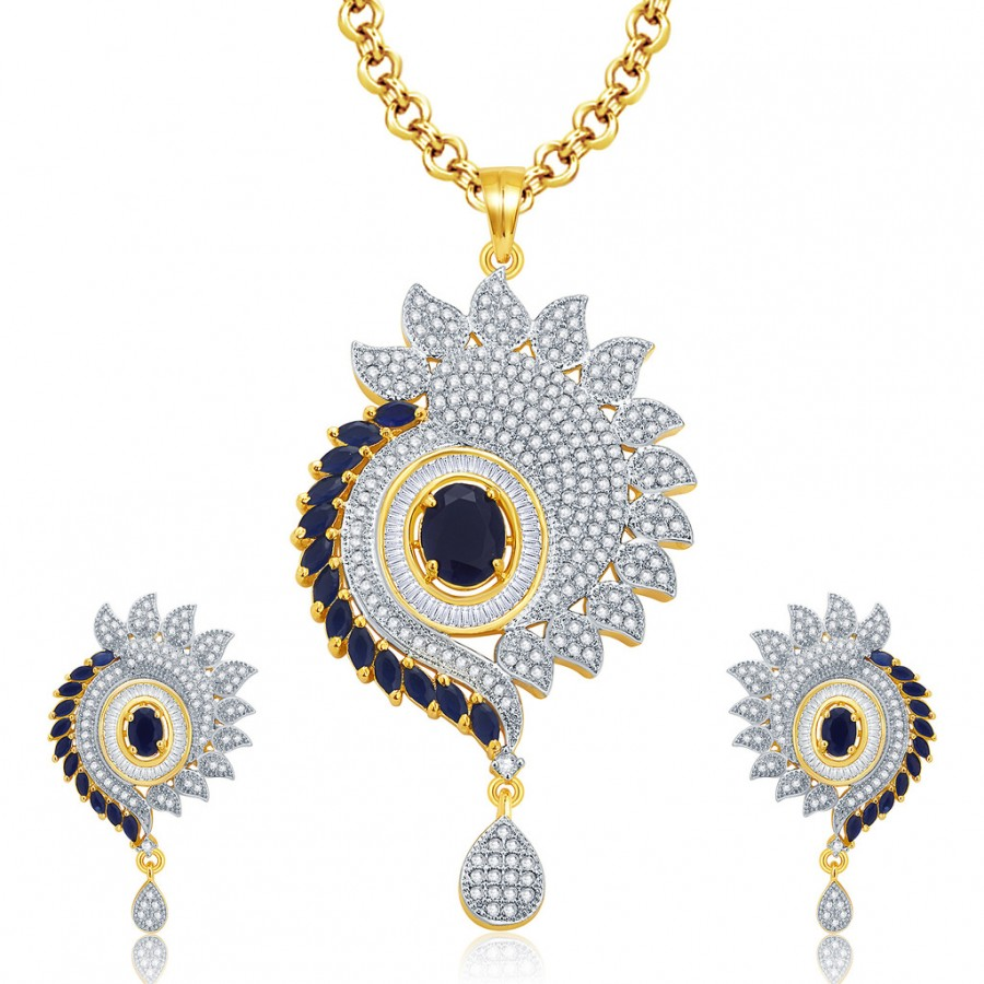 Buy Pissara Vivid Gold And Rhodium Plated CZ Pendant Set For Women Online