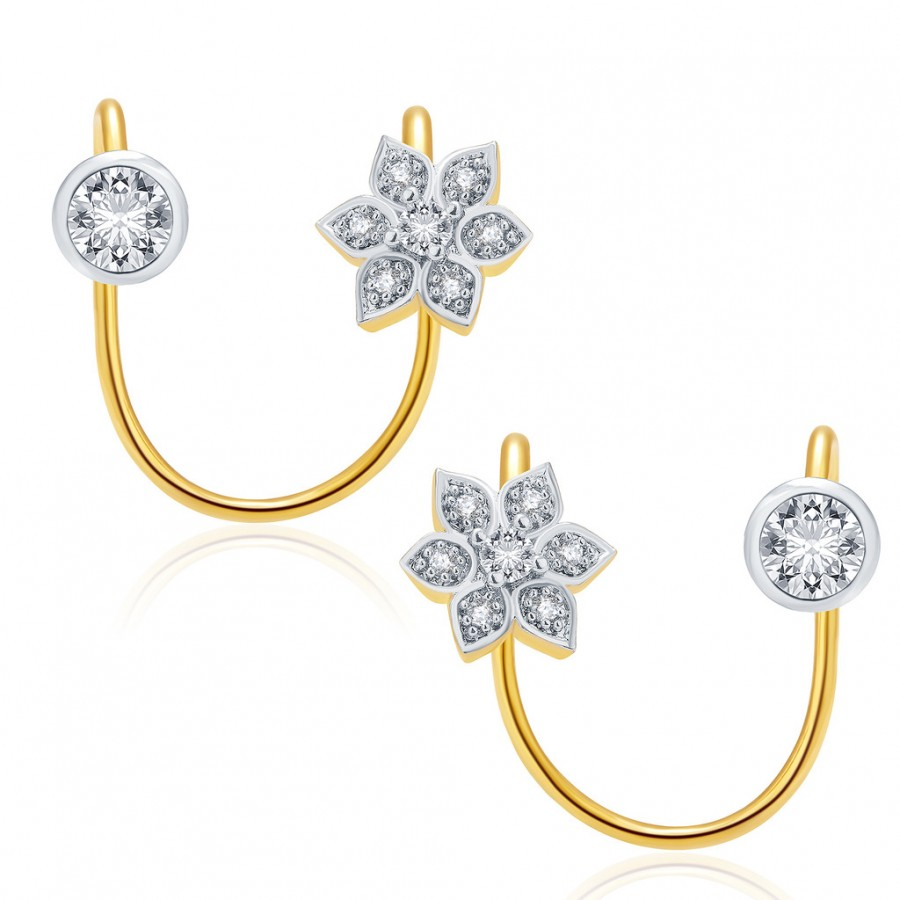 Buy Pissara Lovely Gold And Rhodium Plated CZ Earcuff For Women Online