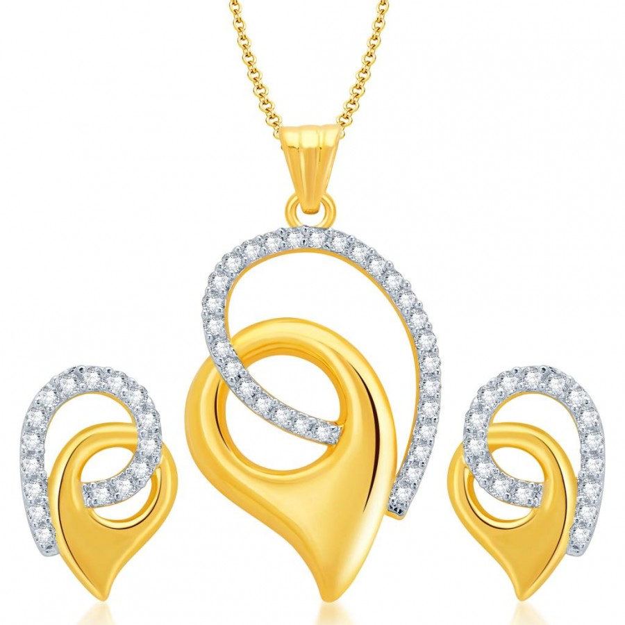 Buy Pissara Glorius Gold and Rhodium Plated CZ Pendant Set for Women Online