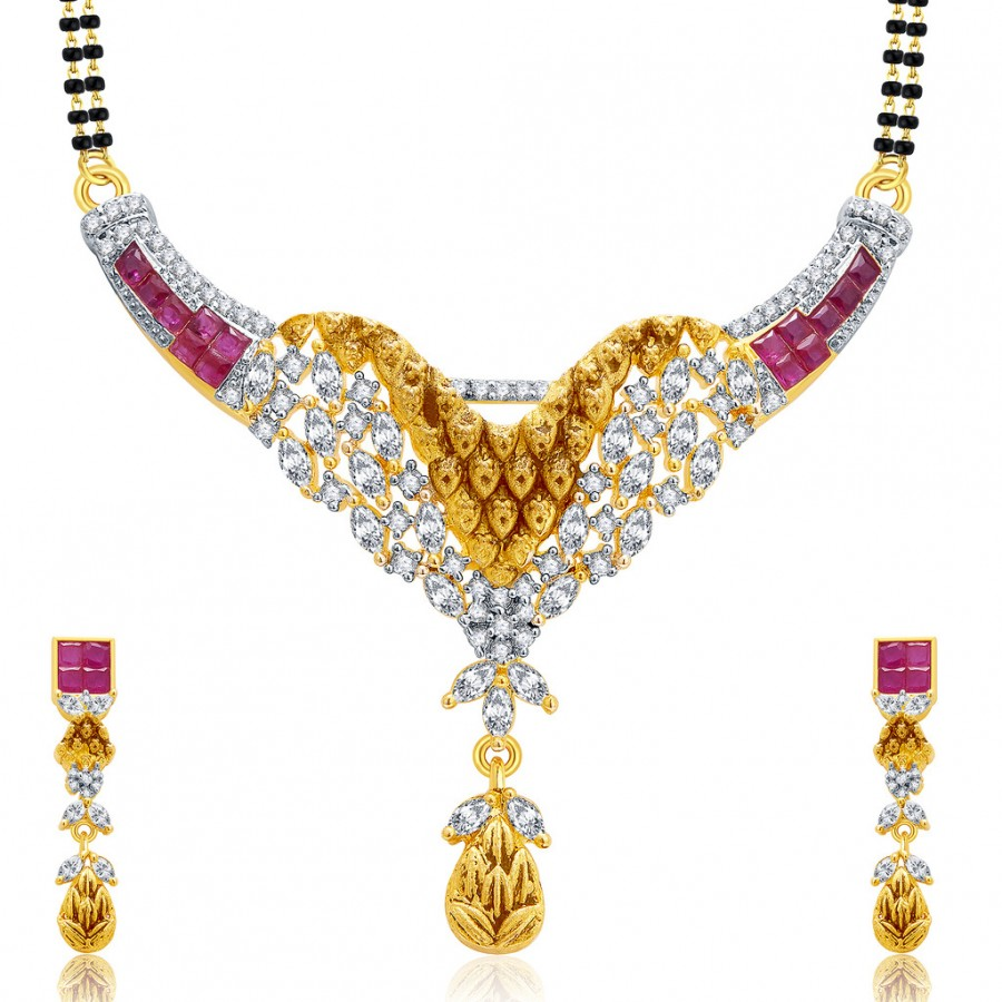 Buy Pissara Incredible Gold And Rhodium Plated Ruby CZ Mangalasutra Set For Women Online