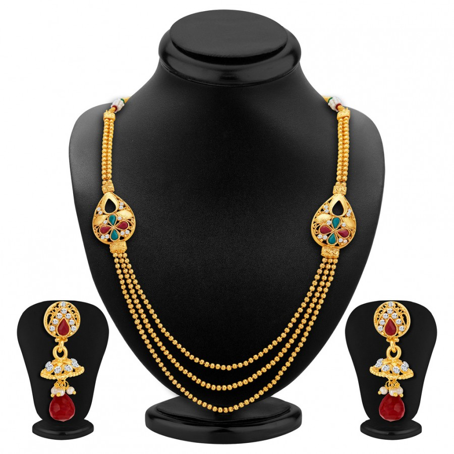 Buy Sukkhi Exotic Three Strings Gold Plated Necklace Set Online