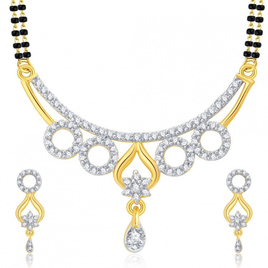 Buy Pissara Splendid Gold And Rhodium Plated CZ Mangalasutra Set For Women Online