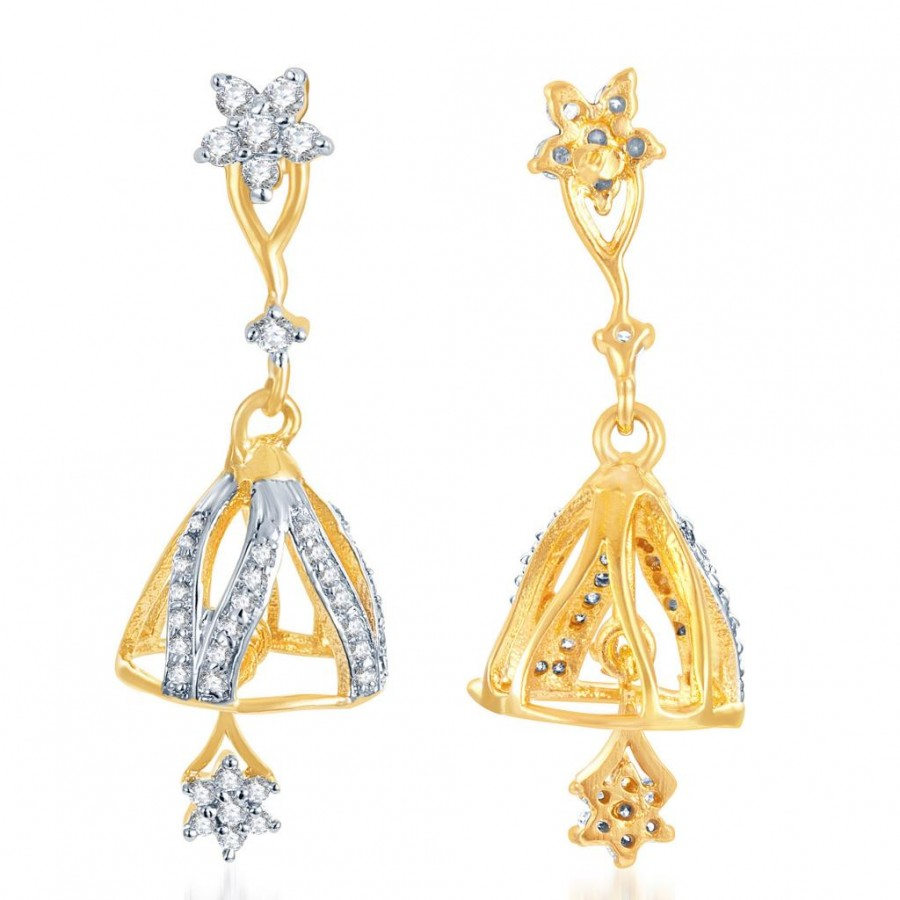 Buy Pissara Indian Wedding Gold and Rhodium Plated CZ Jhumki Online