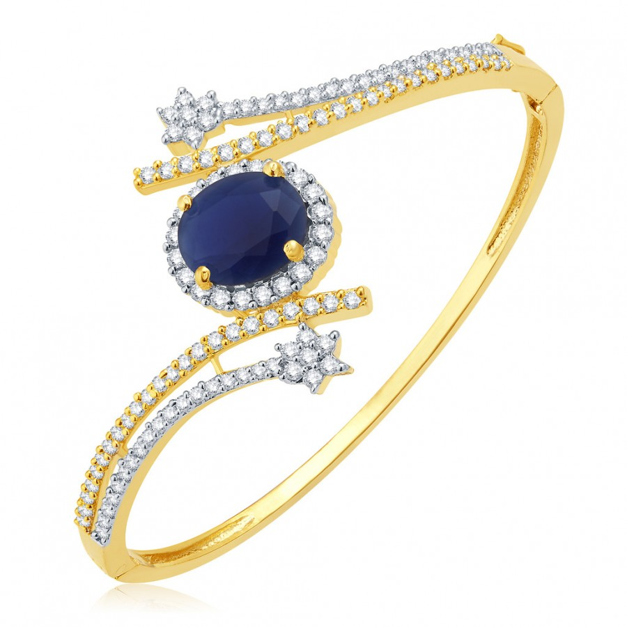 Buy Pissara Royal Gold And Rhodium Plated CZ Kada For Women Online