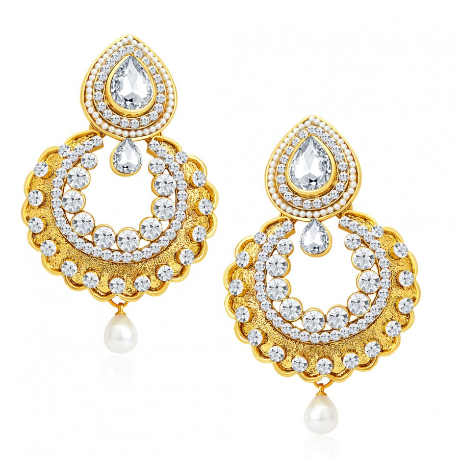 Buy Sukkhi Gorgeous Gold Plated AD Earrings For Women Online