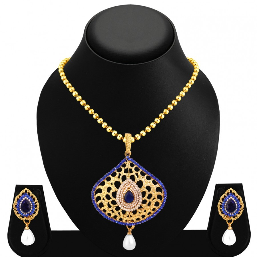 Buy Sukkhi Wavy Gold Plated Pendant Set For Women Online