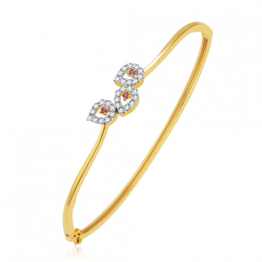 Buy Pissara Radiant Gold And Rhodium Plated CZ Kada For Women Online