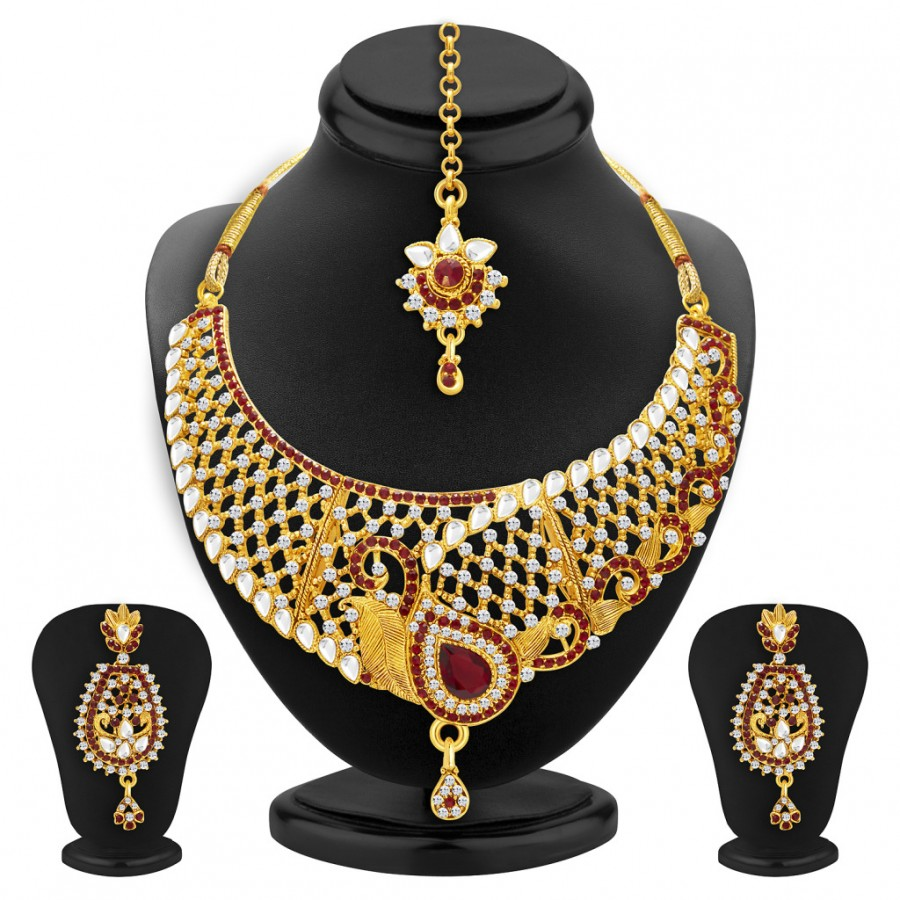 Buy Sukkhi Gorgeous Gold Plated AD and Kundan Necklace Set For Women Online