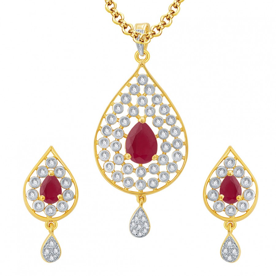 Buy Pissara Magnificient Gold And Rhodium Plated Ruby CZ Pendant Set For Women Online