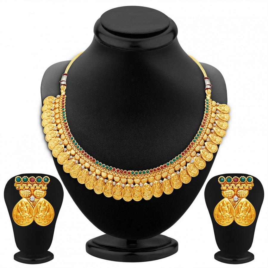 Buy Sukkhi Sublime Gold Plated Temple Jewellery Necklace Set Online