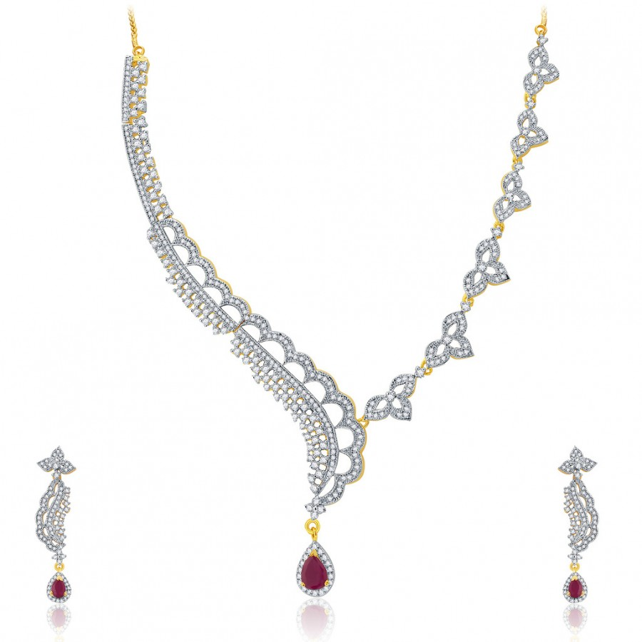 Buy Pissara Vivid Gold And Rhodium Plated Ruby CZ Neklace Set For Women Online