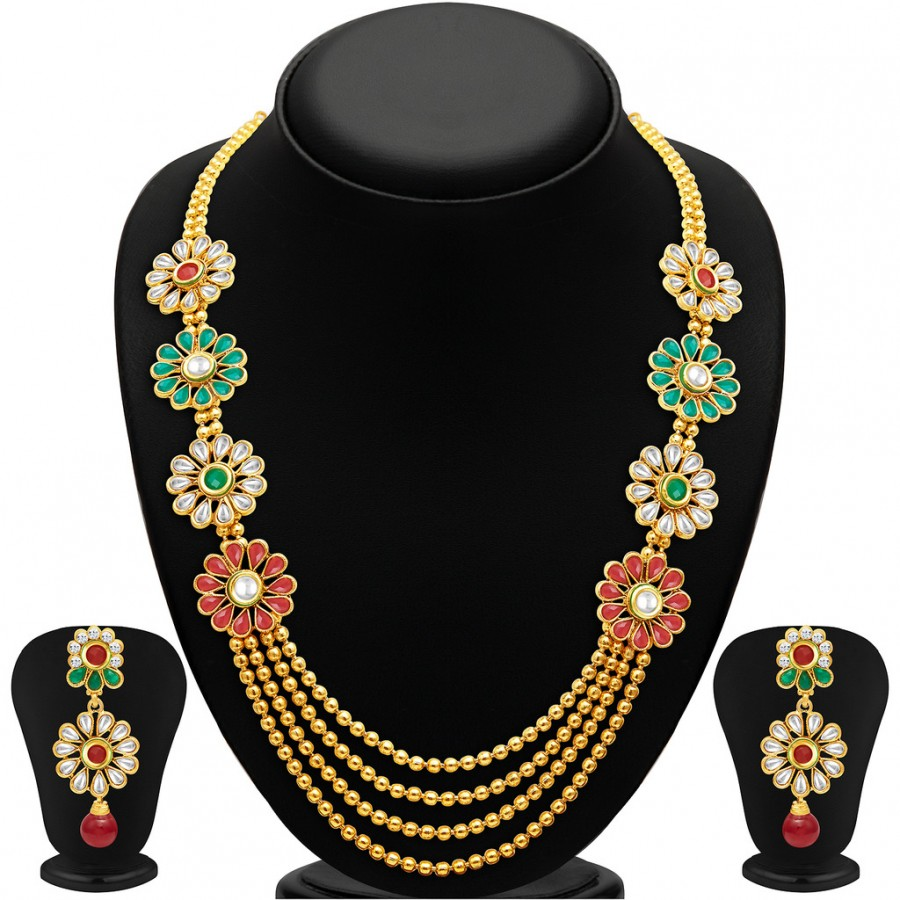 Buy Sukkhi Beguiling Four Strings Gold Plated Necklace Set Online
