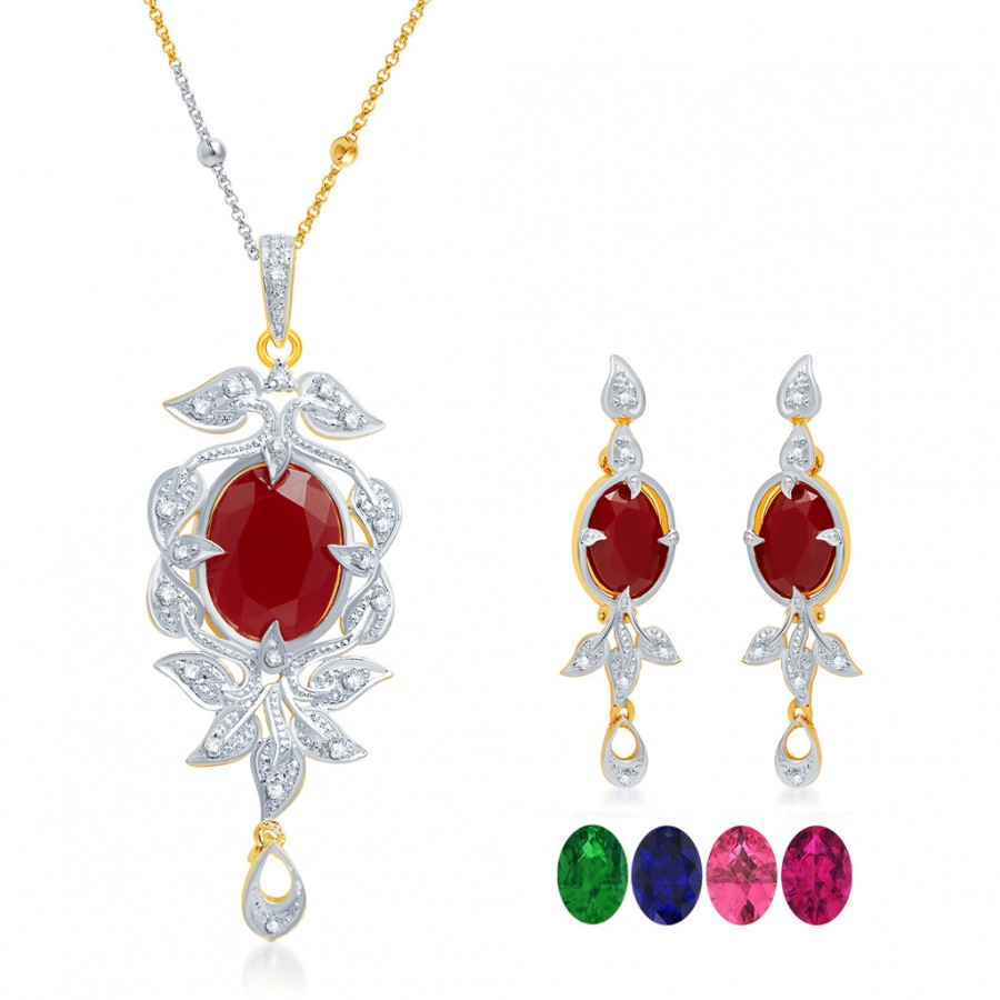 Buy Pissara Sleek Gold and Rhodium Plated CZ Pendant Set with Set of 5 Changeable Stone Online