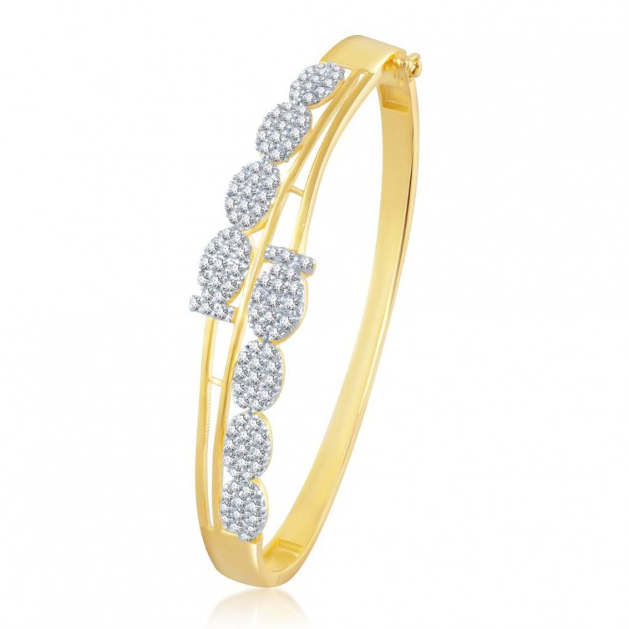 Buy Pissara Beguilling Gold and Rhodium Plated Cubic Zirconia Stone Studded Kada Online
