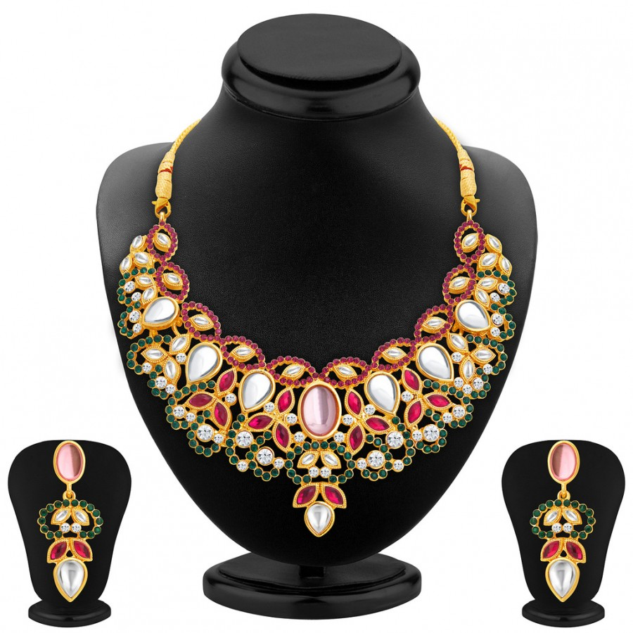 Buy Sukkhi Fashionable Gold Plated AD Necklace Set For Women Online