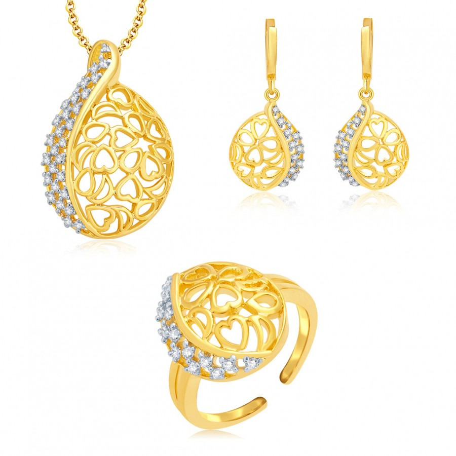 Buy Pissara Artistic Gold And Rhodium Plated CZ Pendant Set For Women Online