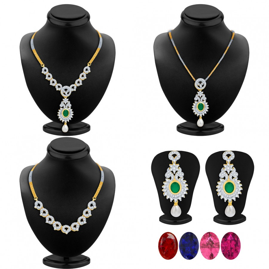 Buy Pissara Delightly Detachable 4 in 1 CZ Jewellery Set with Chain and 5 Changeable Stone Online
