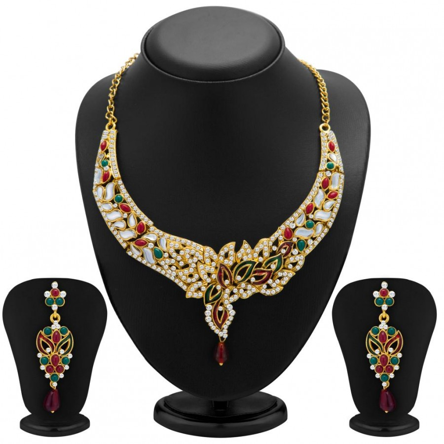 Buy Sukkhi Sleek Gold Plated Meenakari AD Necklace Set for Women Online