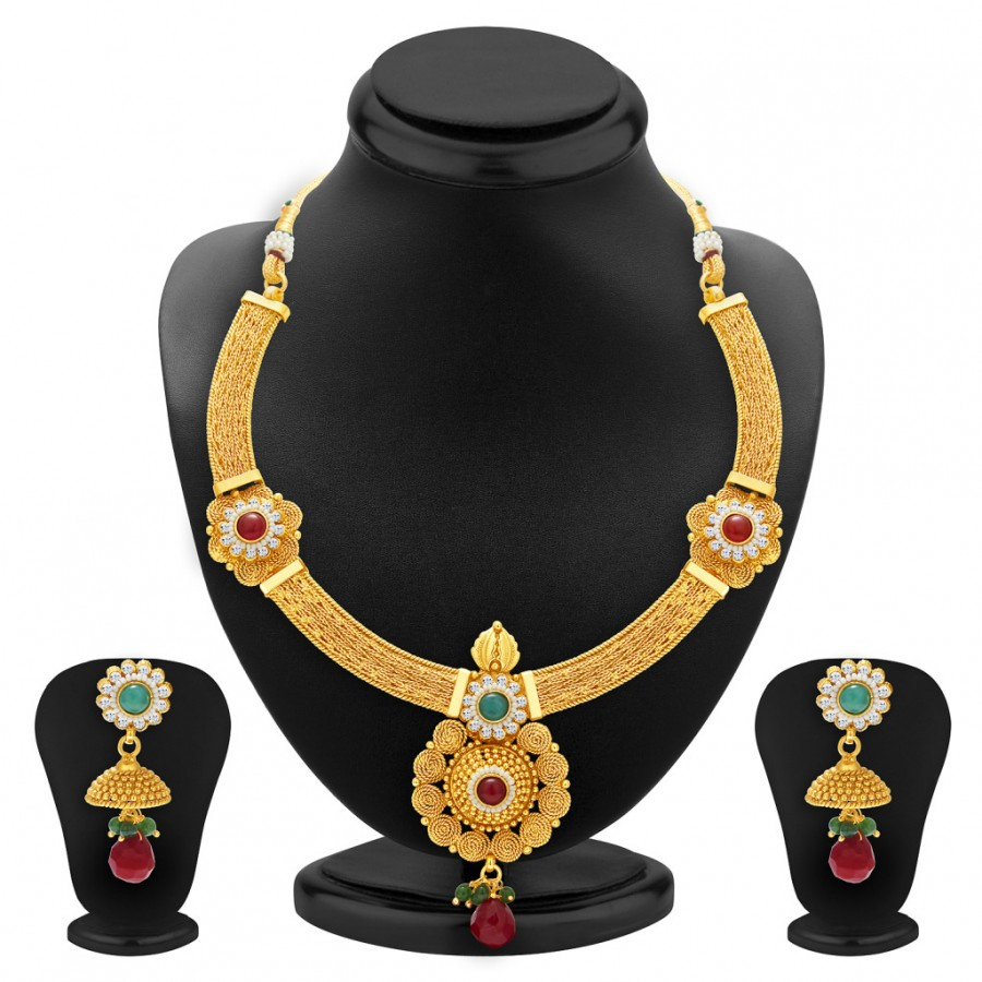 Buy Sukkhi Bewitching Jalebi Design Gold Plated Necklace Set For Women Online