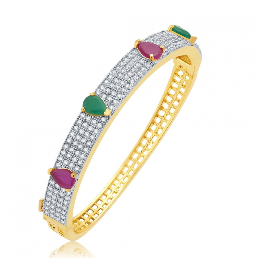 Buy Pissara Harmony Gold And Rhodium Plated Ruby CZ Kada For Women Online